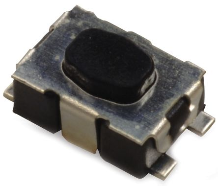C & K IP40 Black Button Tactile Switch, Single Pole Single Throw (SPST) 50 mA 2.11mm Surface Mount (6000)