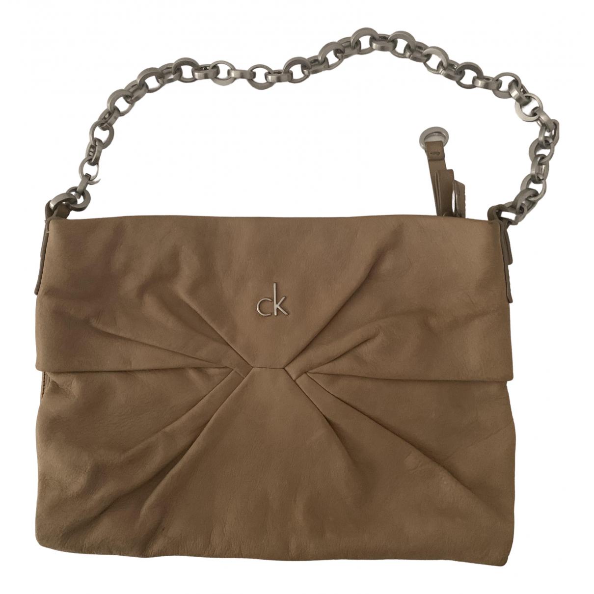 Calvin Klein - Pochette   pour femme en cuir - ecru
