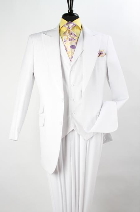 Mens 3 Piece Fashion Suit Wool Feel With Peak Lapel Jacket Pure White