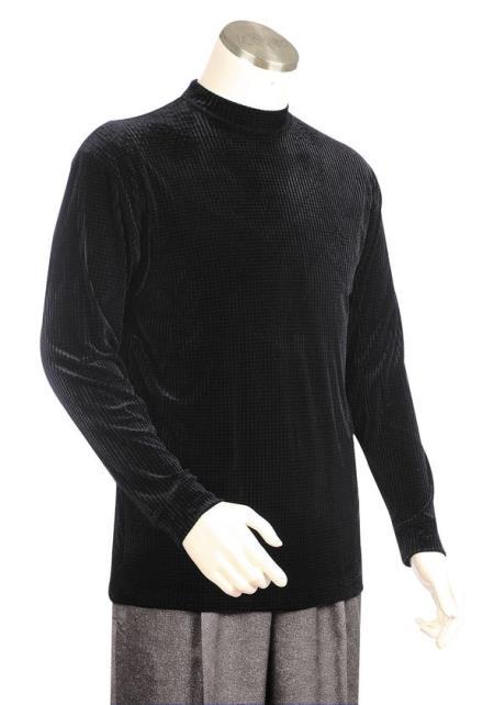 Mens Velvet Grid Long Sleeve Dry Clean Suggest Walking Suit Black