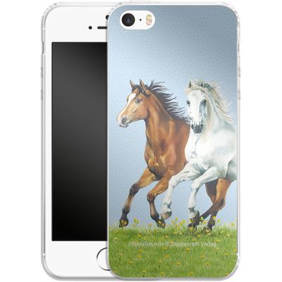 Apple iPhone 5s Silikon Handyhuelle - Pferdefreunde Ausritt von Pferdefreunde