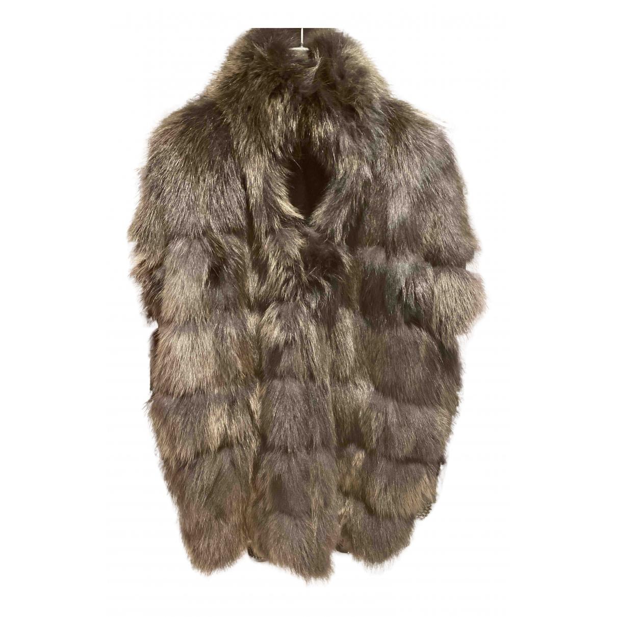 Blancha - Veste   pour femme en renard - noir