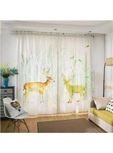 Modern Style Beautiful Yellow Elk 3D Painted Semi-blackout Custom Curtains