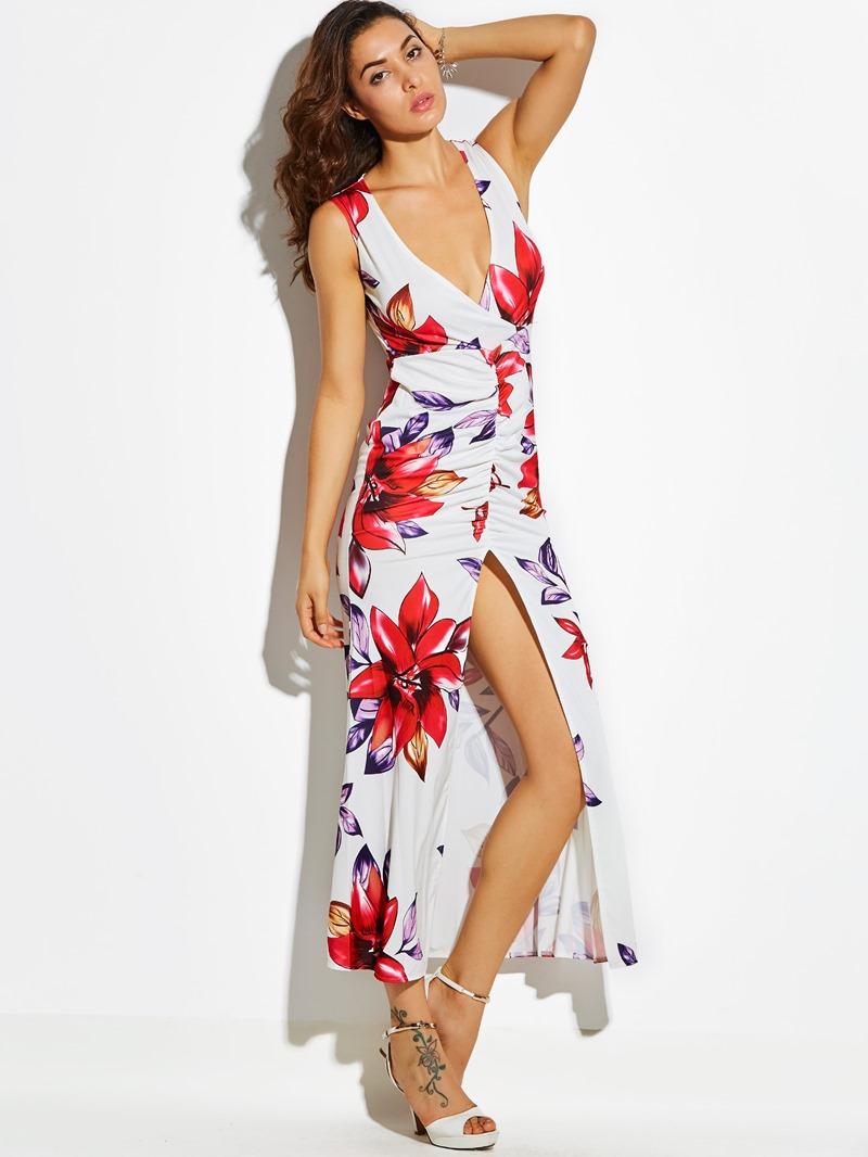 Ericdress Front-Slit Floral Sleeveless Bodycon Dress