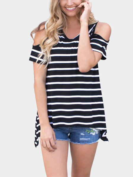 Yoins Simple Stripe Cold Shoulder T-shirts in Black