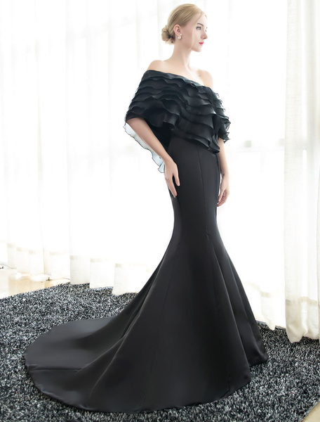 Milanoo Vestidos de fiesta largos Vestido de noche con 1/2 manga con escote a un solo hombro con capas