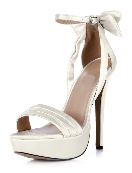 Milanoo White Buckle Open Toe Imitated Silk Beautiful Evening and Brides Sandals