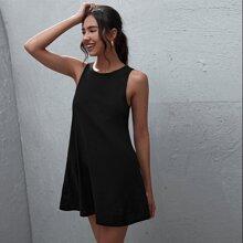 Einfarbiges Tank Kleid mit Taschen