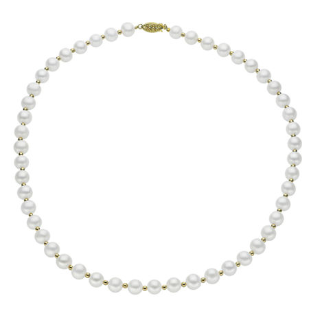 7-7.5Mm Cultured Freshwater Pearl Sterling Silver Necklace, One Size , No Color Family