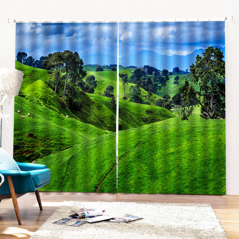 Black Out Ultraviolet-Proof Curtains with Pastoral Landscape Pattern Environment-friendly Material and Pollution-free Printing Technology Machine Wash