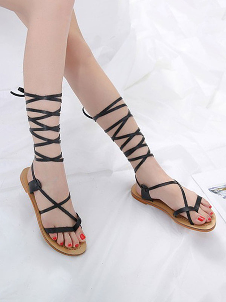 Milanoo Brown Gladiator Sandals Women Thong PU Leather Lace Up Sandal Shoes