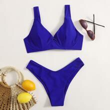 Solid High Cut Bikini Swimsuit