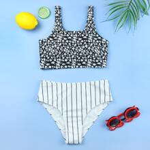 Girls Ditsy Floral & Striped Bikini Swimsuit