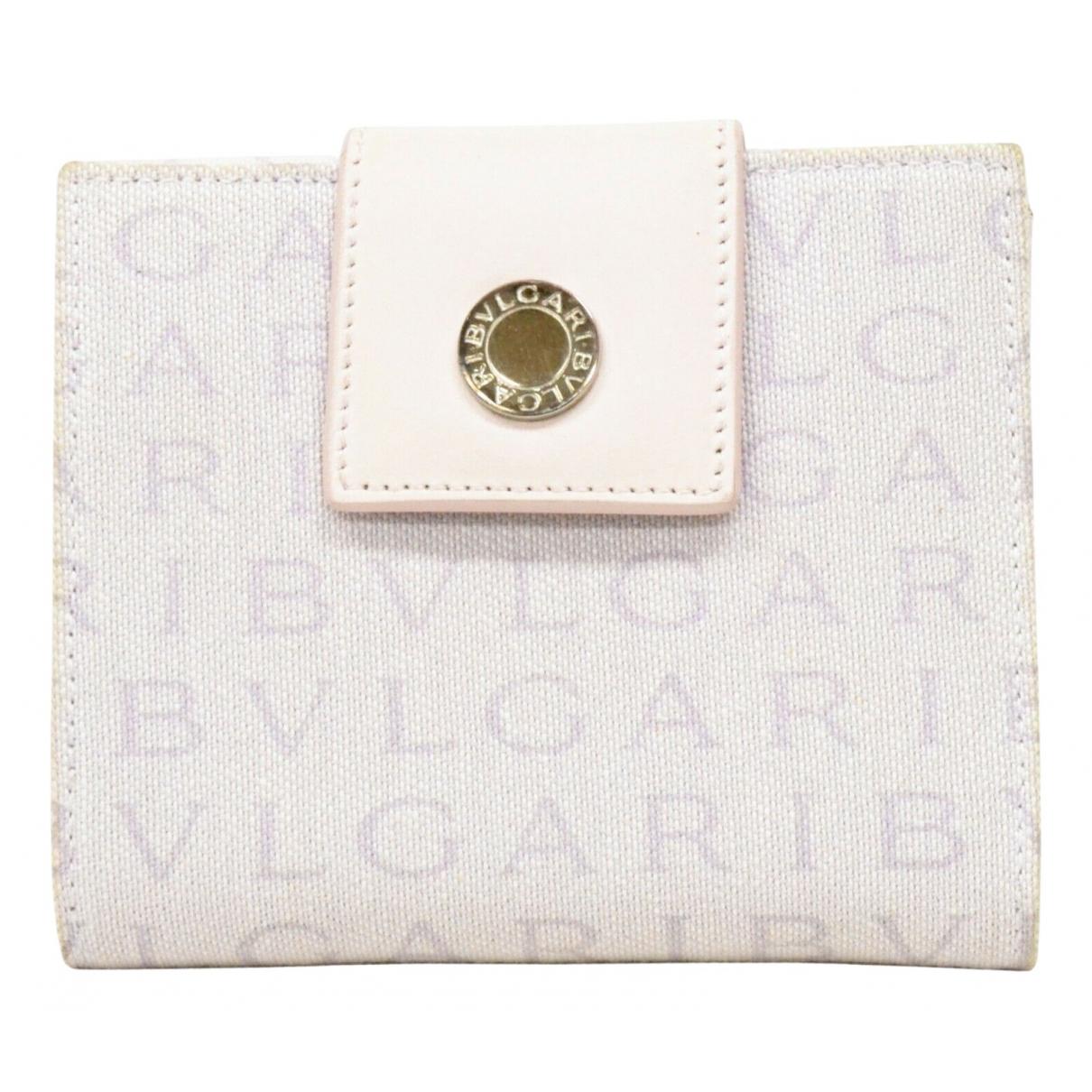 Bvlgari - Portefeuille   pour femme en toile - blanc