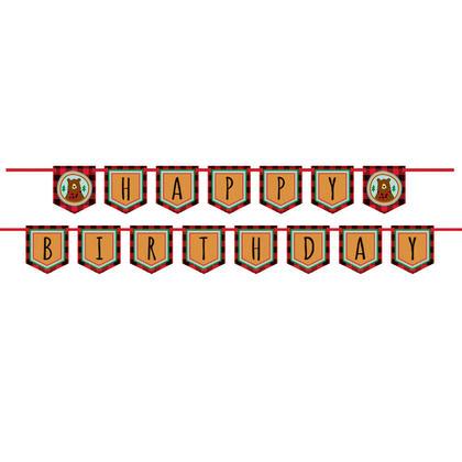 Plaid Lumberjack Happy Birthday Pennant Banner Pour la fête d'anniversaire
