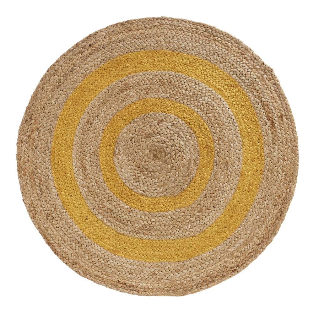 Runder Teppich aus Jutegeflecht, zweifarbig D100