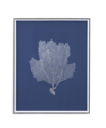 Trade Collection 9901-278B 25W x 31H Sea Fans in Silver II Framed Art with Wood Frame Matte Board Glass Face Material in Silver