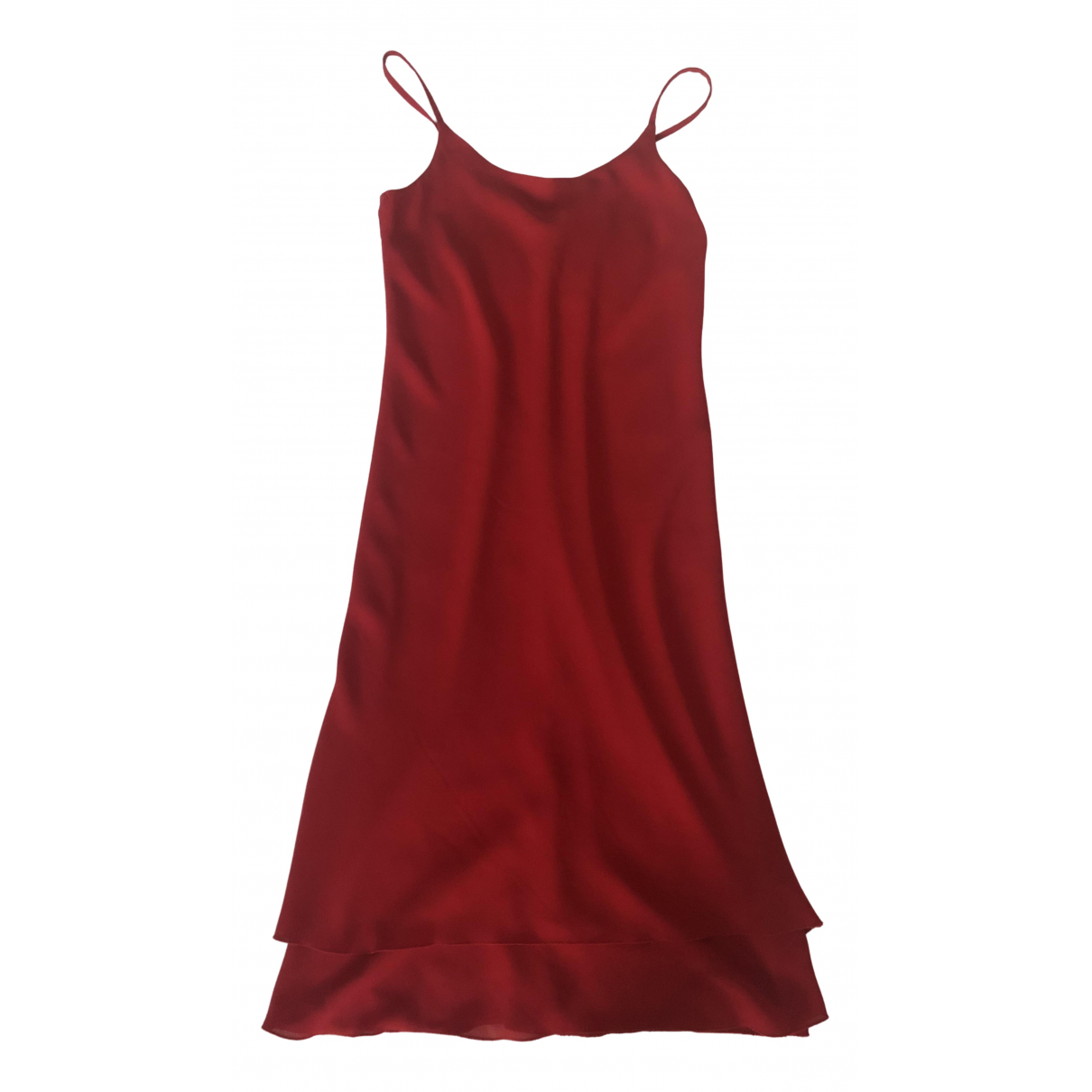 Non Signe / Unsigned Epaulettes Kleid in  Rot Polyester