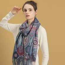 Schal mit Blumen Muster und Fransen