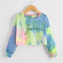 Toddler Girls Tie Dye Letter Graphic Crop Sweatshirt