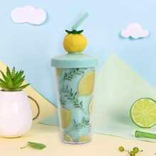 1 Stueck Flasche mit Zitronen Muster