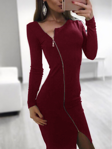Yoins Burgundy Zip Front V-neck Long Sleeves Slit Midi Dress