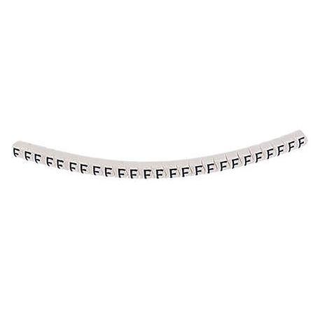 HellermannTyton HGDC Slide On Cable Marker, Pre-printed F Black on White 2 → 5mm Dia. Range