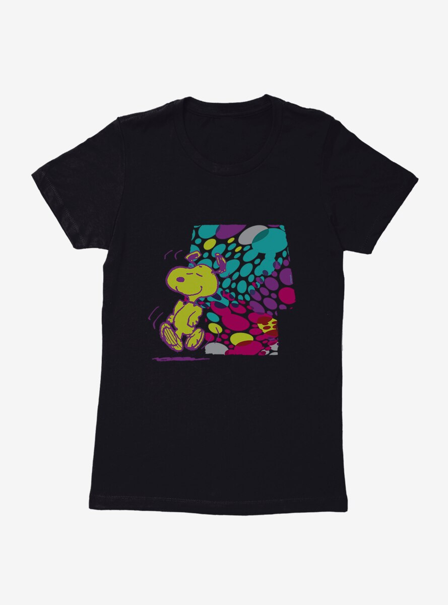 Peanuts Holiday Patterns Dancing Snoopy Spotted House Womens T-Shirt