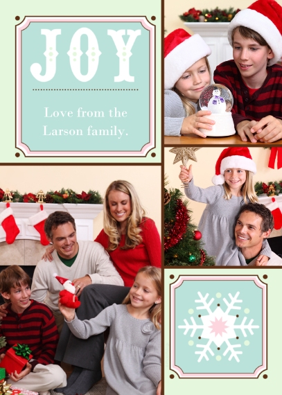 Holiday Photo Cards 5x7 Folded Cards, Standard Cardstock 85lb, Card & Stationery -Joy + Snowflake