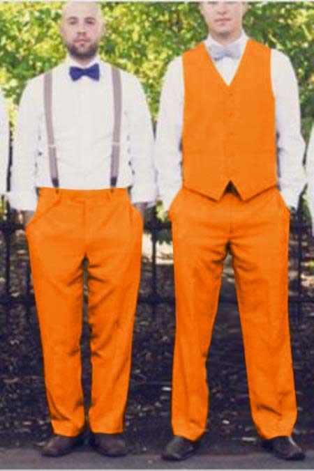 Matching Waistcoat Wedding ~ Prom Vests & Flat Front Pants Set Orange