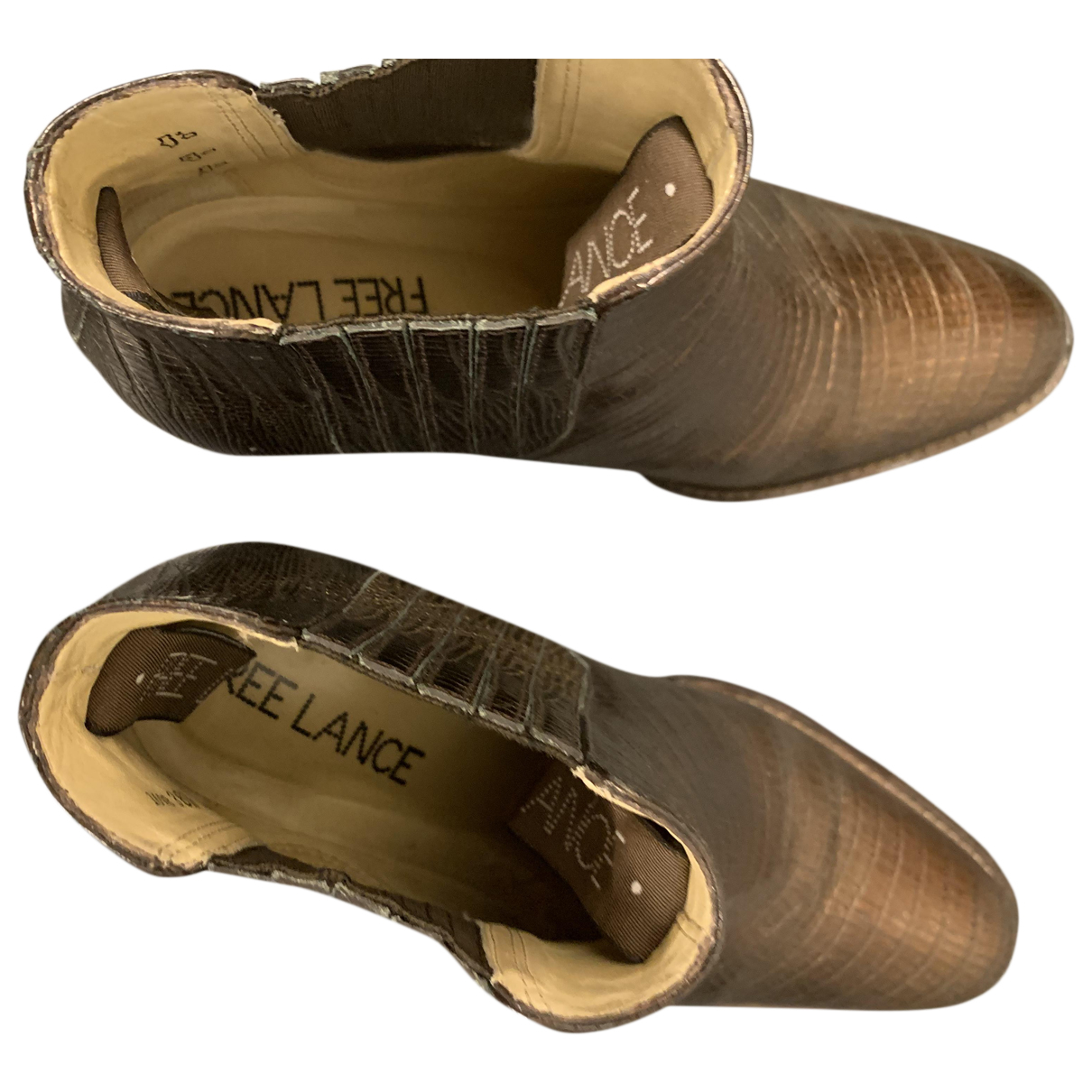 Free Lance - Boots   pour femme en cuir - marron
