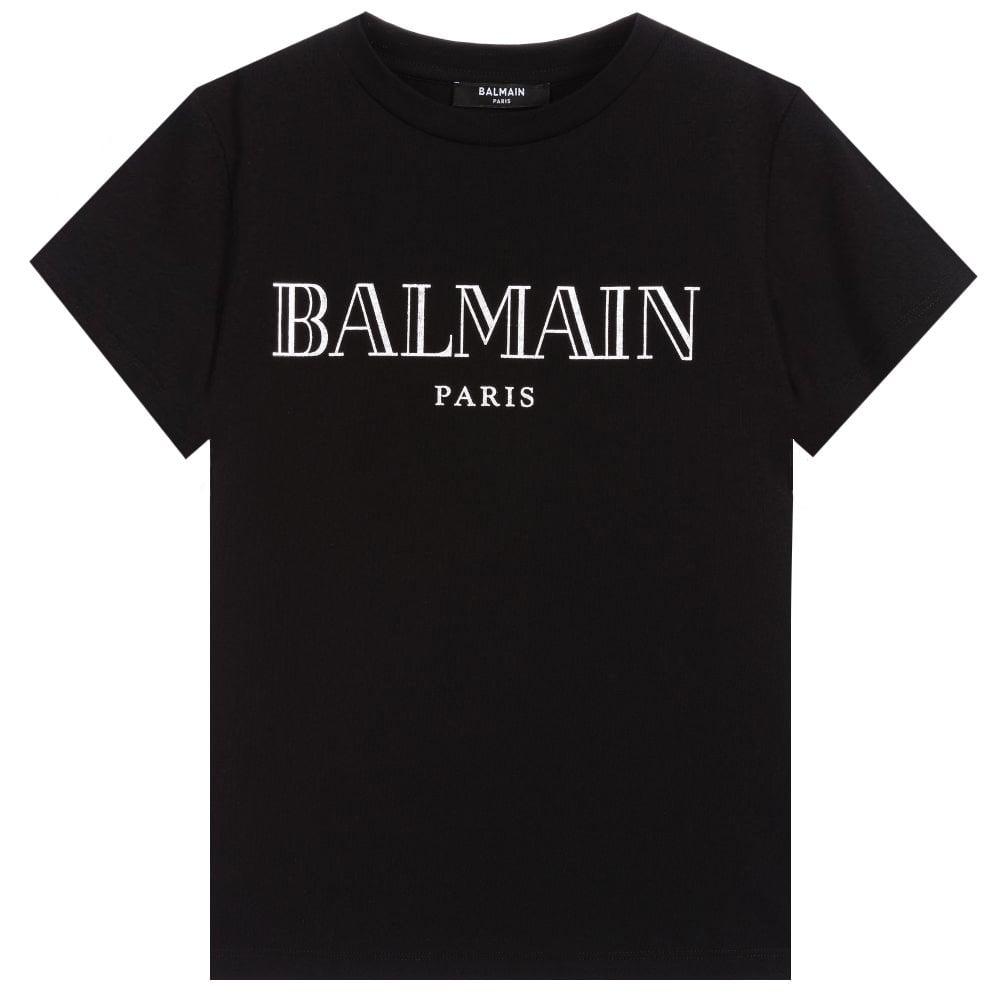 Balmain Logo T-shirt Colour: BLACK, Size: 12 YEARS