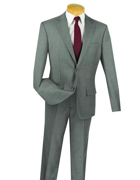 Fortini Gray 1Wool 2Button Window Pane Plaid Slim Fit Suit Side Vented