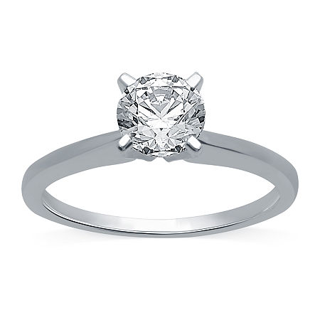 Womens 1 CT. T.W. Genuine White Diamond 10K White Gold Round Solitaire Engagement Ring, 8 , No Color Family