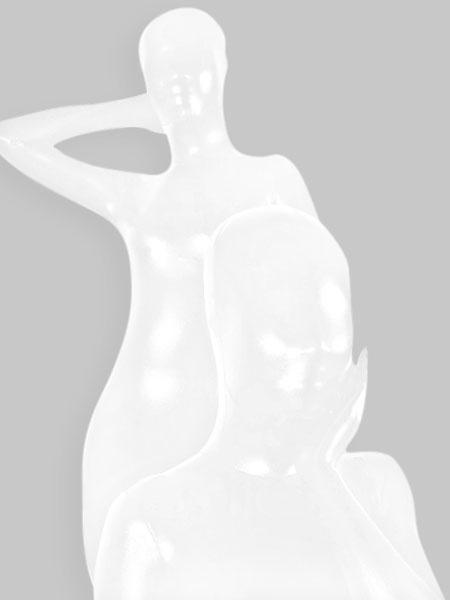 Milanoo Morph Suit White Shiny Metallic Fabric Zentai Suit Unisex Full Body Suit