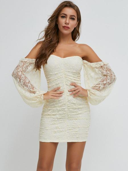 Milanoo Women\'s Bodycon Dresses Ecru White Strapless Bohemian Long Sleeves Pencil Dress Street Wear