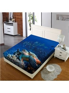 Sea Turtles In The Deep Sea Reactive Printing 1-Piece Polyester Bed Cover / Mattress Cover