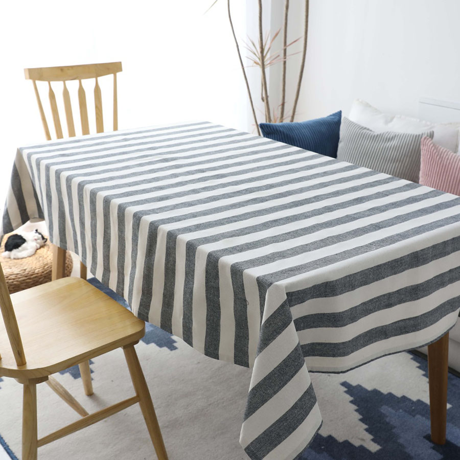European Style Cotton Stripe Pattern Rectangle Table Cloth