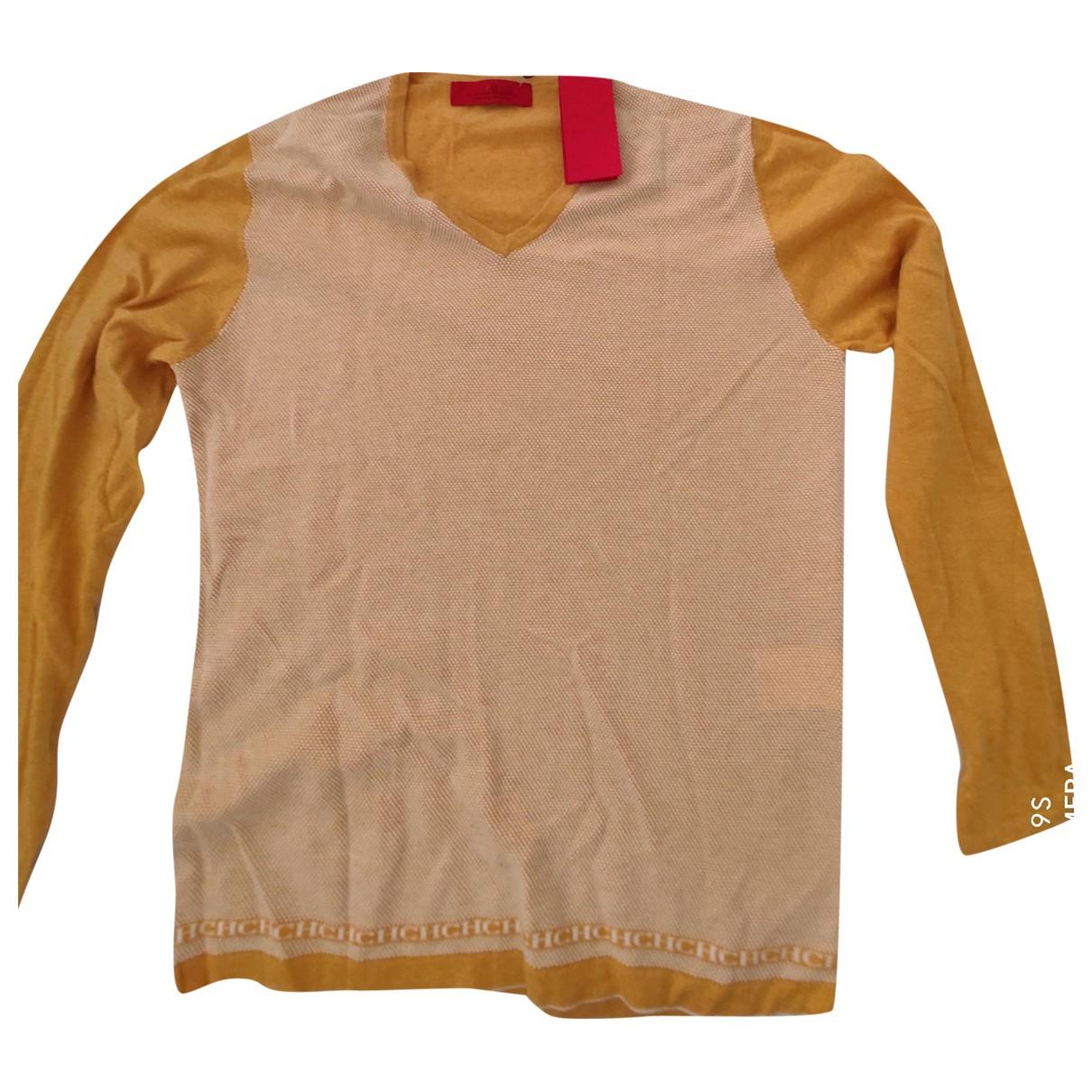 Carolina Herrera - Pull   pour femme en coton - jaune