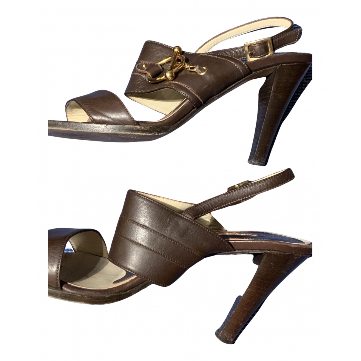 Marni N Brown Leather Sandals for Women 41 IT