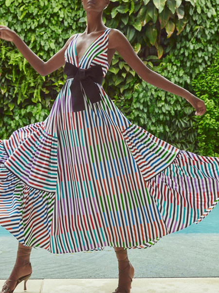 Milanoo Vestidos largos de mujer Vestido largo sin espalda sin mangas con cuello en V rojo sin mangas con rayas