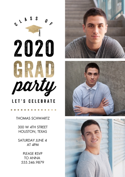 Graduation Invitations 5x7 Cards, Standard Cardstock 85lb, Card & Stationery -2020 Grad Party Celebrate Memories