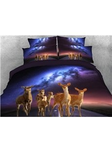 Vivilinen Sika Deer and Galaxy Printed 4-Piece 3D Bedding Sets/Duvet Covers