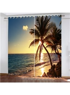 3D Blackout Water-proof Gorgeous Sunset and Beach Pattern Digital Printing Decorative Curtain