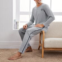 Men Letter And Leaf Embroidery Pajama Set