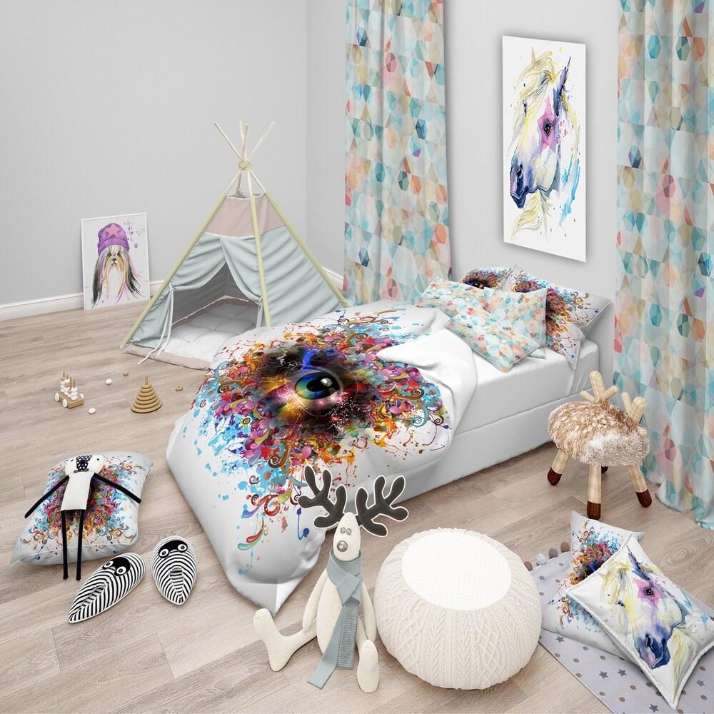 Designart 'Magic Eye with Flowers' Modern & Contemporary Bedding Set - Duvet Cover & Shams (3 Piece - Full/Queen Cover +2 Shams (comforter not