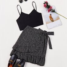 Solid Cami Top With All Over Print Knot Skirt