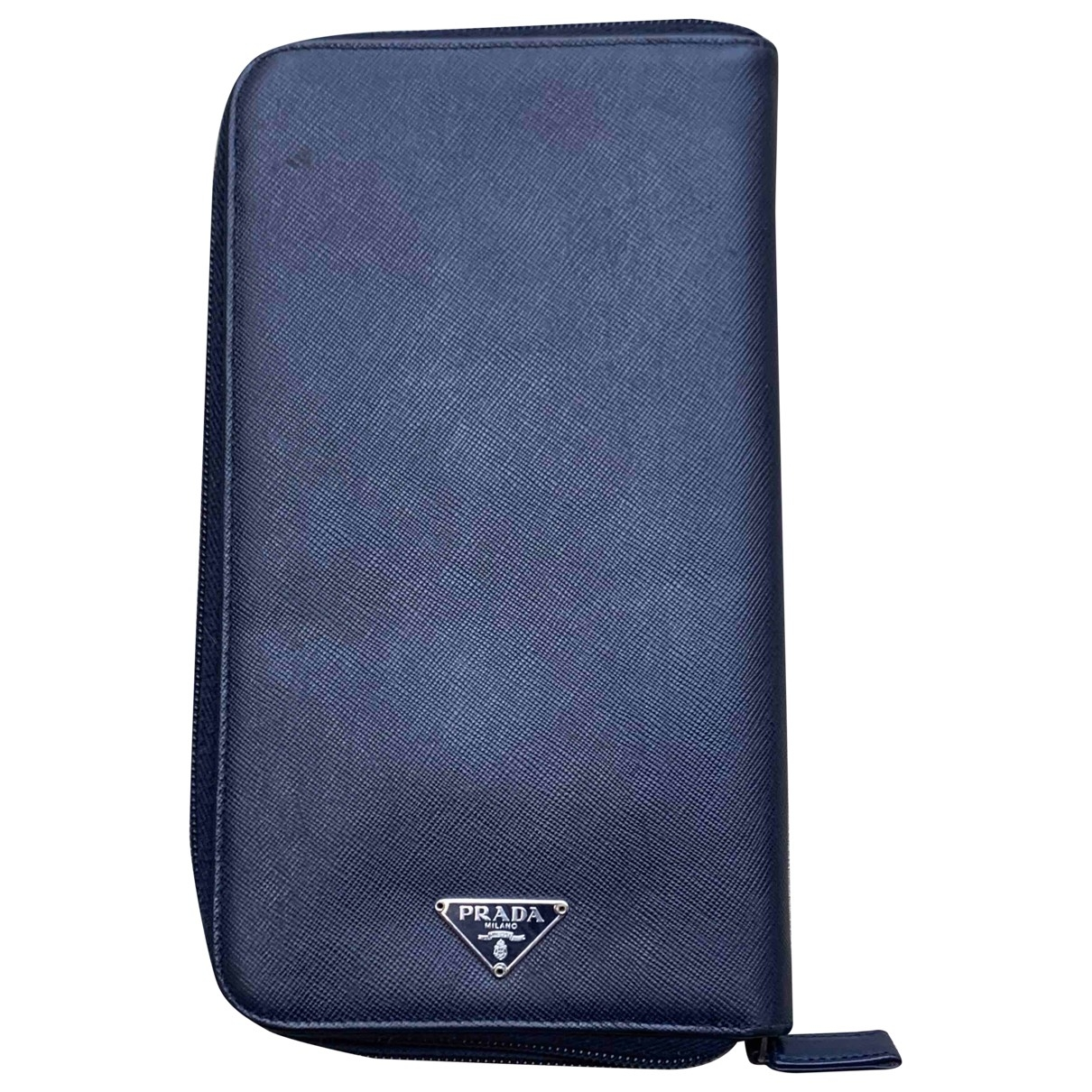 Prada \N Blue Leather Small bag, wallet & cases for Men \N