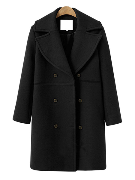 Milanoo Coat For Woman Turndown Collar Double Breast Buttons Casual Brick Red Winter Coat