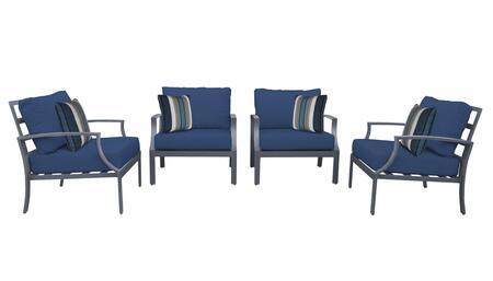 Lexington LEXINGTON-04g-NAVY 4-Piece Aluminum Patio Set 04g with 4 Club Chairs - Ash and Navy